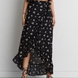 American Eagle Ruffle Floral Faux Wrap Skirt